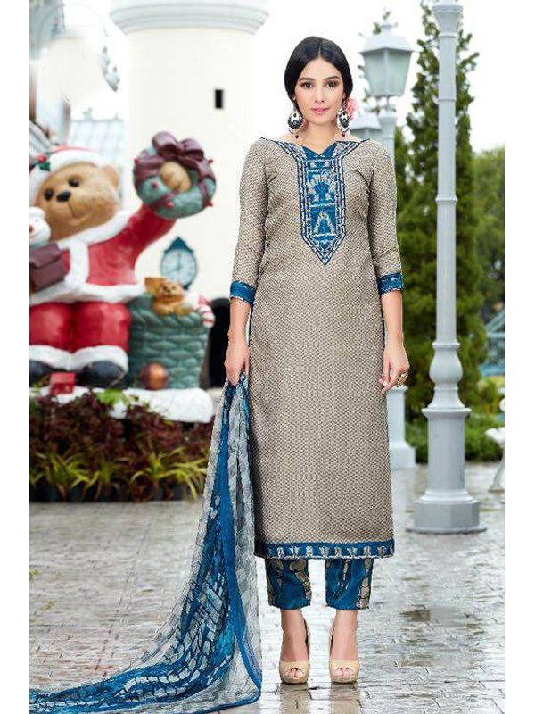 Pashmina Grey Self Printed Suit With Karachi Blue Embroidery And Printed Dupatta