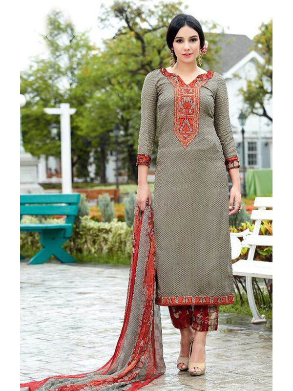Pashmina Grey Self Printed Suit With Karachi Red Embroidery And Printed Dupatta