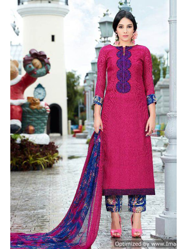 Pashmina Magenta Self Printed Suit With Karachi Blue Embroidery And Printed Dupatta