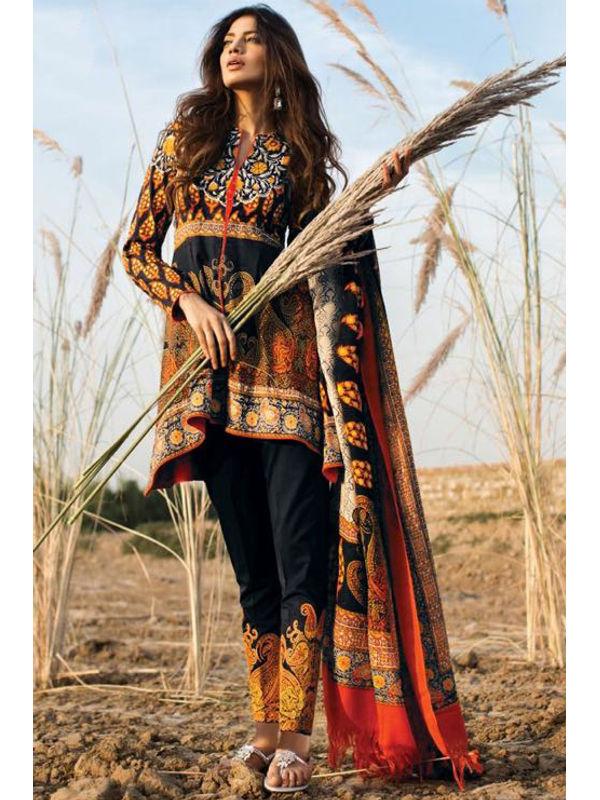 Pashmina Pakistani Black Brown Printed Suit With Pashmina Shawl
