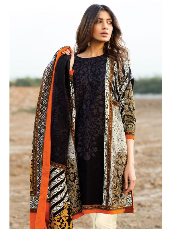 Pashmina Pakistani Black Mehndi Printed Suit With Pashmina Shawl