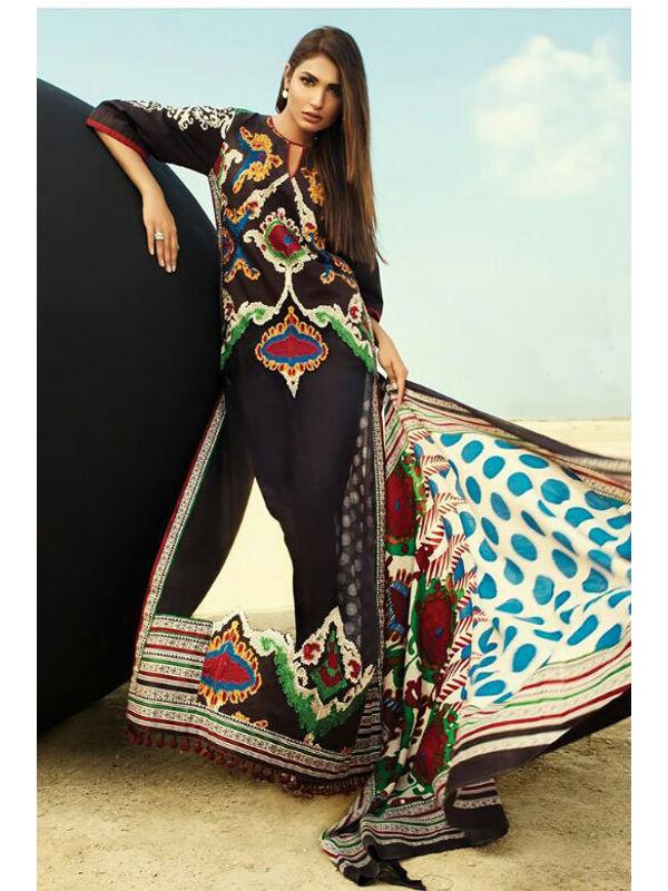 Pashmina Pakistani Black Multi Color Printed Suit With Pashmina Shawl