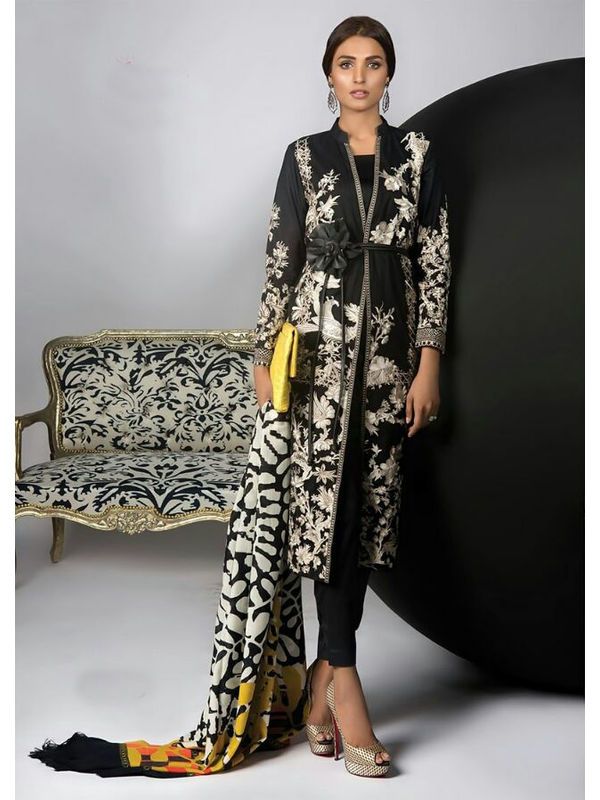 Pashmina Pakistani Black Printed Suit With Pashmina Shawl