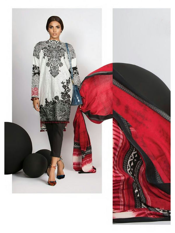 Pashmina Pakistani Black White Printed Suit With Pashmina Shawl