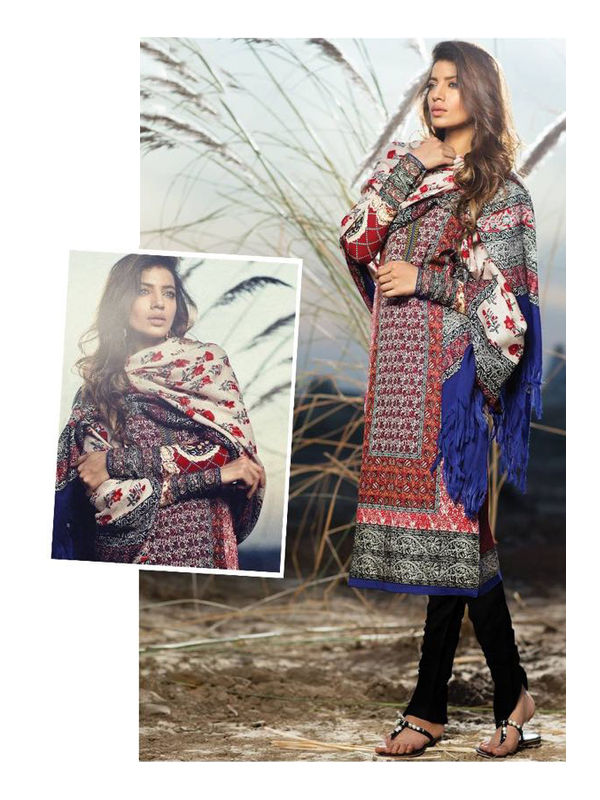 Pashmina Pakistani Multi-Color Printed Suit With Pashmina Shawl
