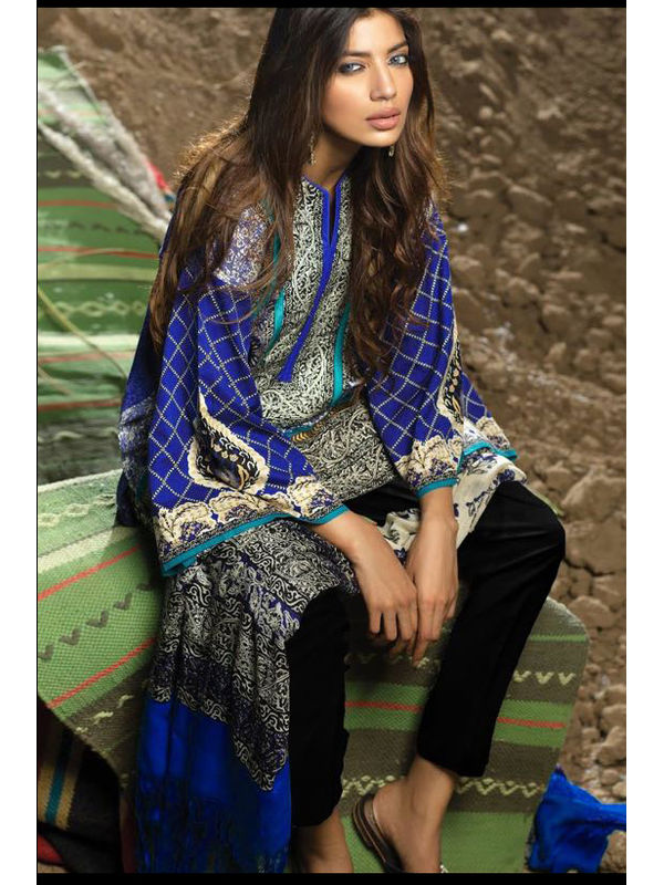 Pashmina Pakistani Blue Printed Suit With Pashmina Shawl