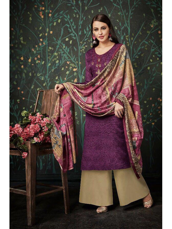Pashmina Purple Beige Suit With Shawl