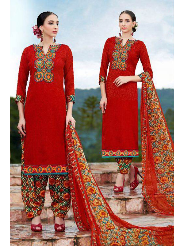 Pashmina Red Self Printed Suit With Karachi Multi-Color Embroidery And Printed Dupatta