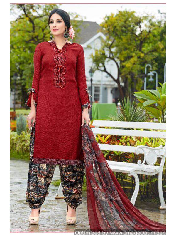 Pashmina Red Self Printed Suit With Karachi Red Embroidery And Printed Dupatta