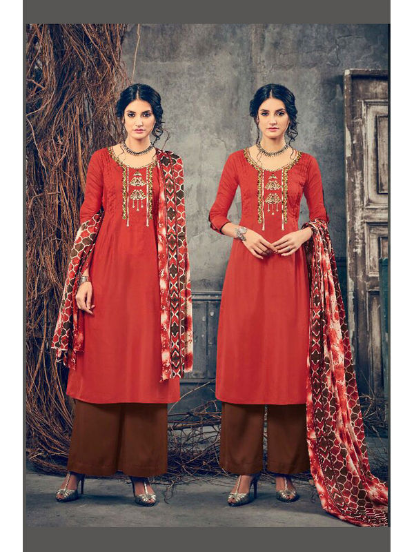 Pashmina Rust Brown Embroidered Suit With Shawl