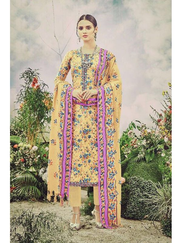 Pashmina Yellow Pink Floral Suit With Shawl