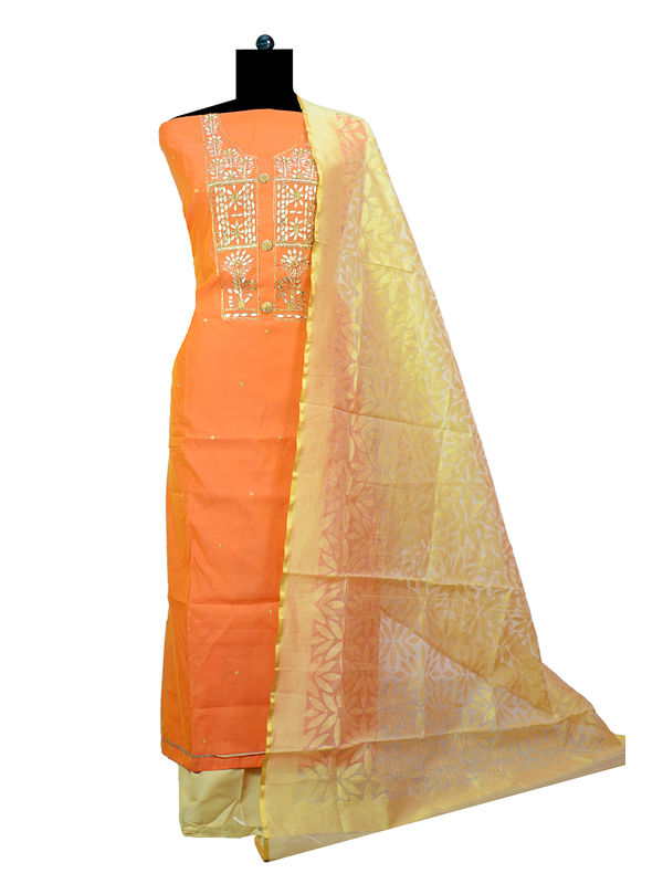 Peach Beige Maheshwari Suit With Silk Work Dupatta