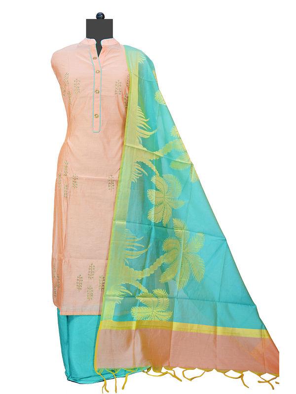 Peach Green Maheshwari Suit With Banarsi Work Dupatta