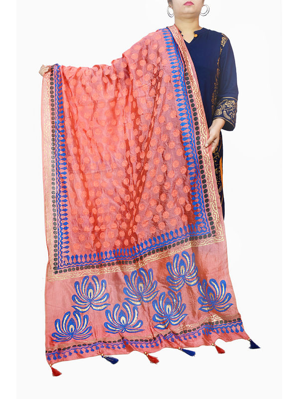 Peach Silk Handpainted Dupatta