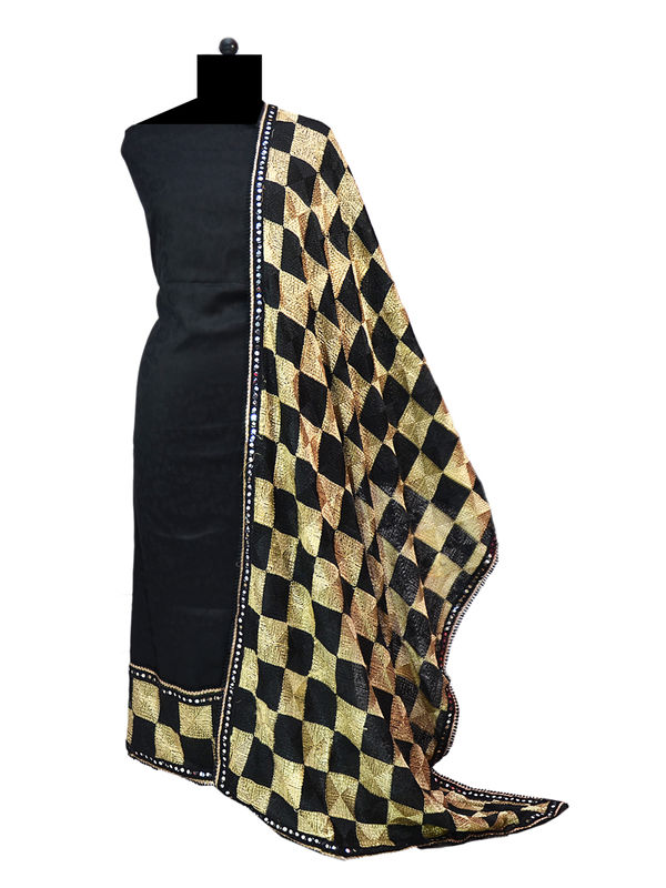 Phulkari Black Cotton Self Printed Suit With Full Jaal Phulkari Dupatta