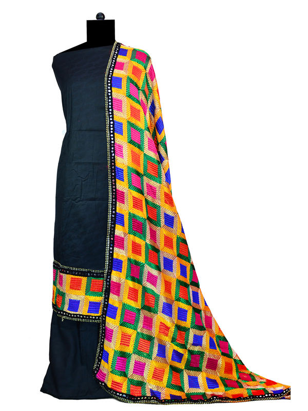 Phulkari Black Jam Cotton Silk Suit