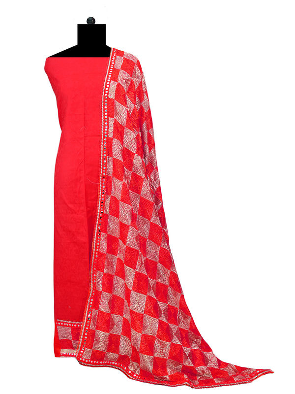 Phulkari Red Cotton Self Printed Suit With Full Jaal Phulkari Dupatta