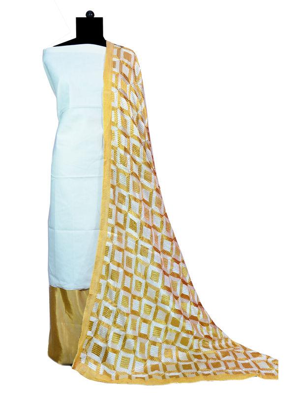 Phulkari White Beige Jam Cotton Silk Suit