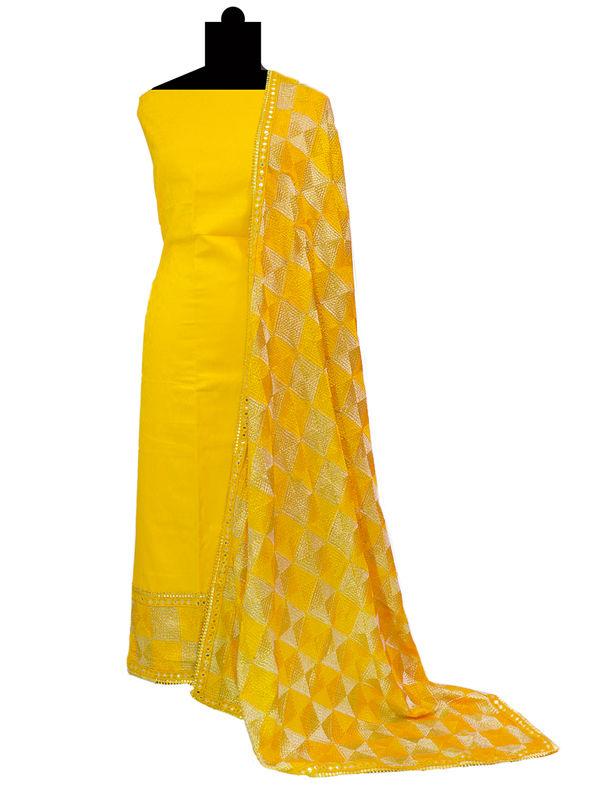 Phulkari Yellow Cotton Self Printed Suit With Full Jaal Phulkari Dupatta