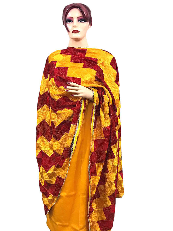 Phulkari Yellow Maroon Cotton Self Printed Suit With Full Jaal Phulkari Dupatta