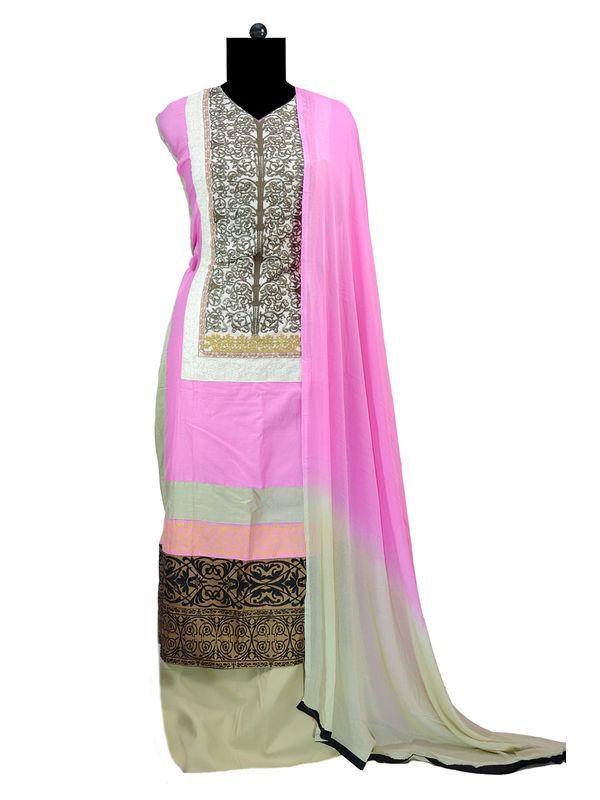 Pink Beige Krachi Embroidered Cotton Suit With Chiffon Dupatta