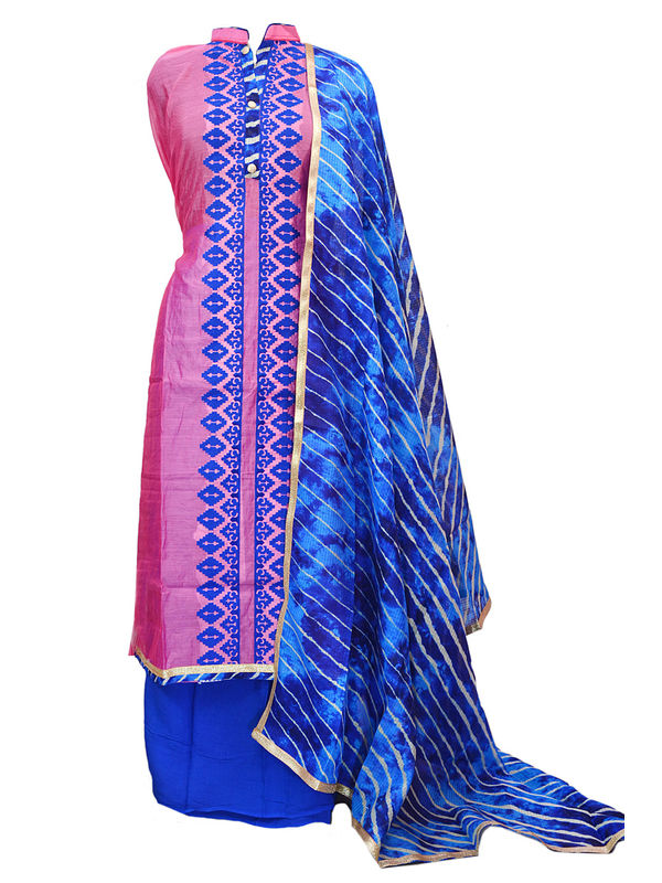 Pink Blue Color Chanderi Silk Embroidered Un-Stitched Suit