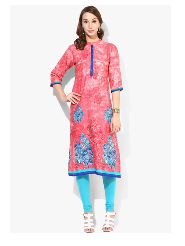 Shree Pink Blue Reyon Kurta