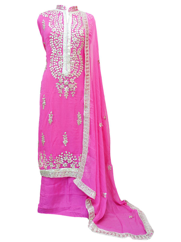 Pink Color Gotta Patti Suit With Gotta Embroidered Chiffon Dupatta