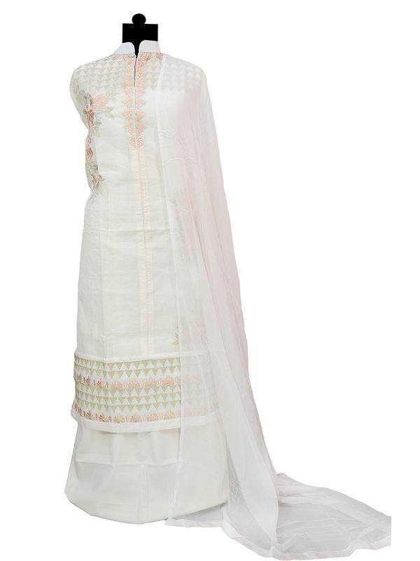Pink Embroidered Cotton Suit with Pure Chiffon Dupatta
