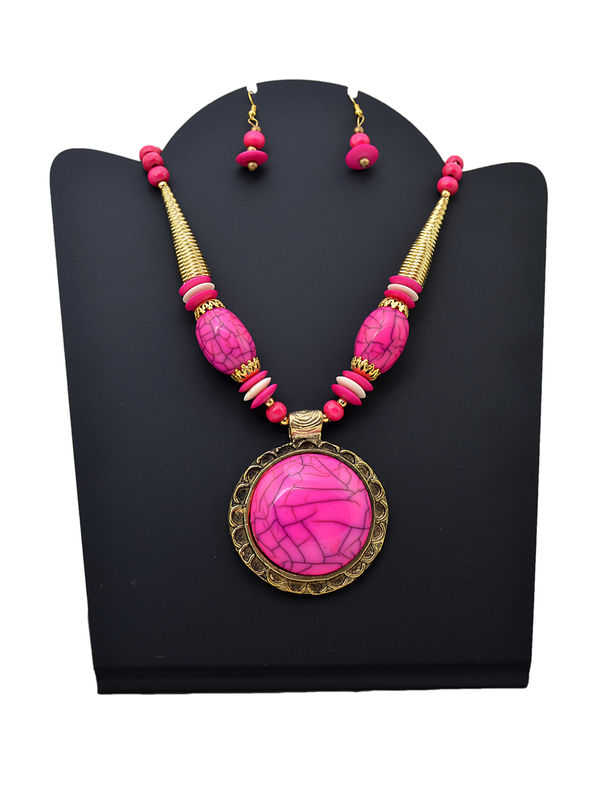 Pink Golden Stonned Tribal Necklace With Earrings