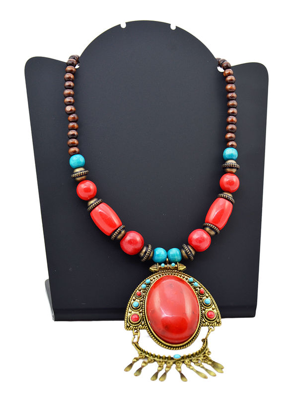 Prehistoric Red Blue Stonned Tribal Necklace