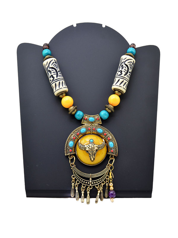 Prehistoric Yellow Blue Stonned Tribal Necklace