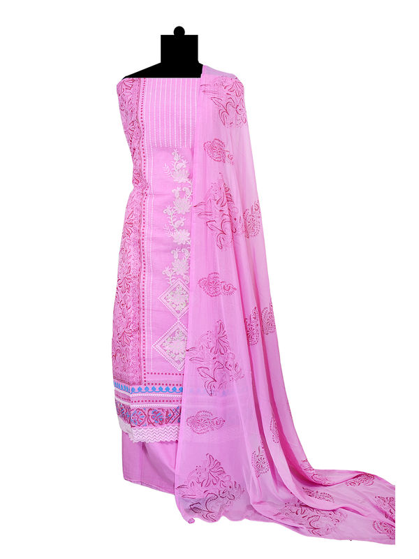Pure Cotton Embroidered Lakhnavi Pink Suit