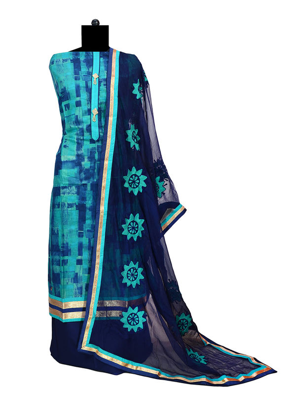 Pure Cotton Green Blue Suit With Chiffon Embroidered Dupatta