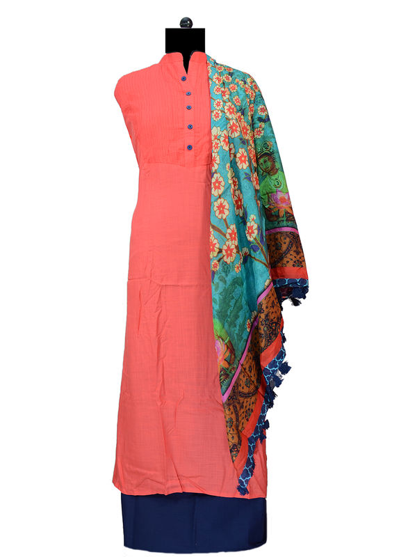 Pure Cotton Suit With Pure Crape Scarf