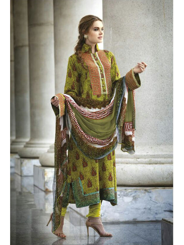 Pure Crape Green Maroon Color Suit With Chiffon Dupatta