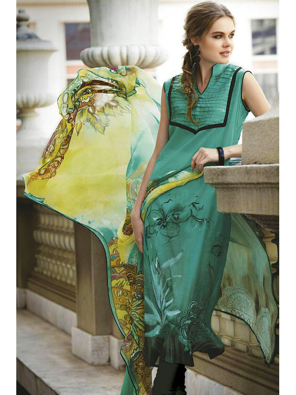 Pure Crape Green Yellow Color Suit With Chiffon Dupatta