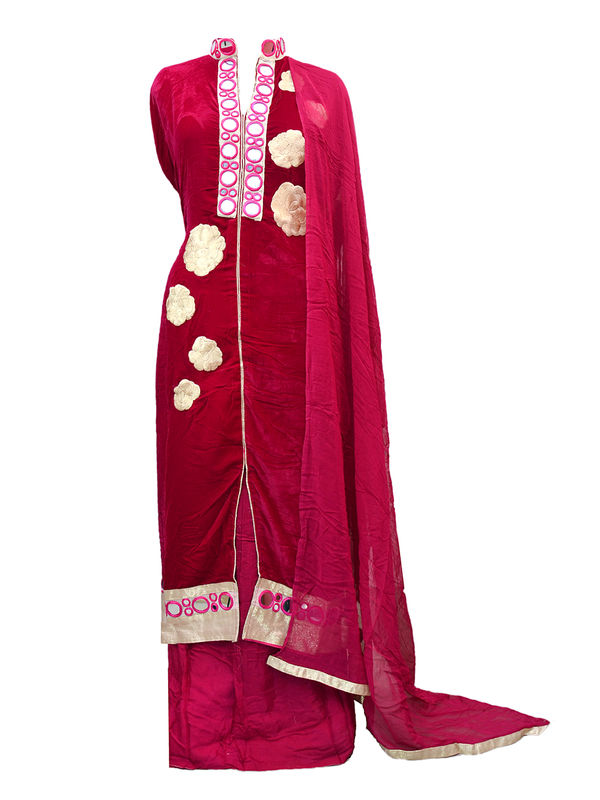 Pure Velevt Semi-Stitched Maroon Suit With Mirror Work