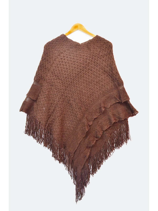 Pure Wool Brown Multi Pannel Poncho