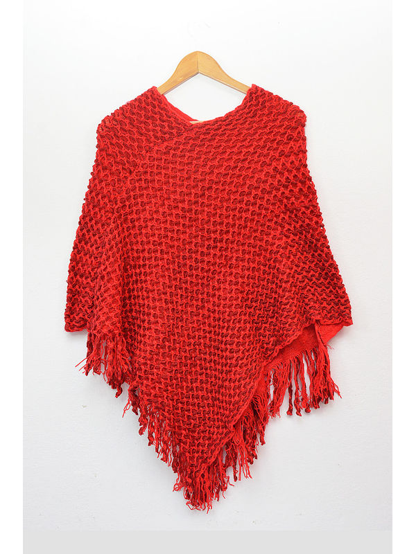 Pure Wool Red Poncho