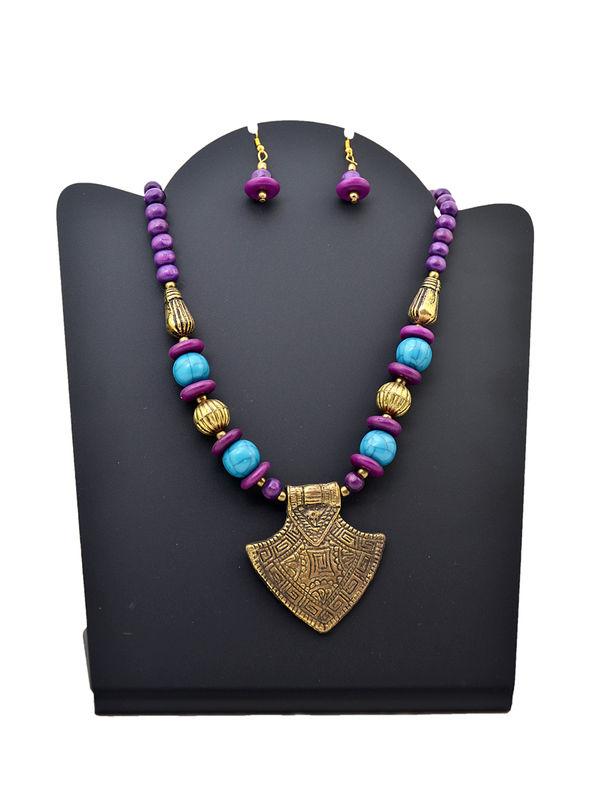 Purple Blue Beeded Metalic Tribal Necklace