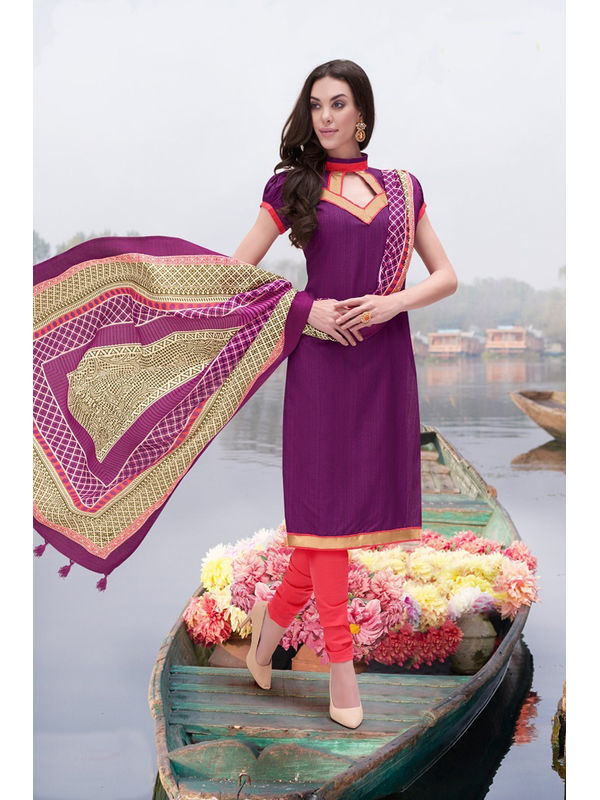Purple Color Bhagalpuri Silk Suit With Bhagalpuri Dupatta