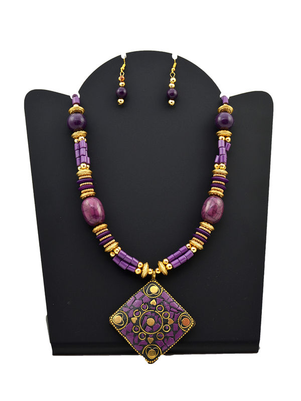 Purple Golden Carved Tribal Stone Necklace