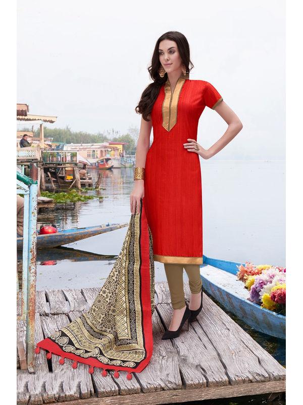 Red Color Bhagalpuri Silk Suit With Bhagalpuri Dupatta