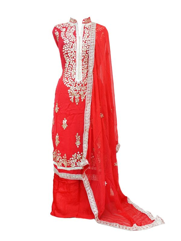 Red Color Full Gota Patti Embroidered Geogette Semi Stitched Suit