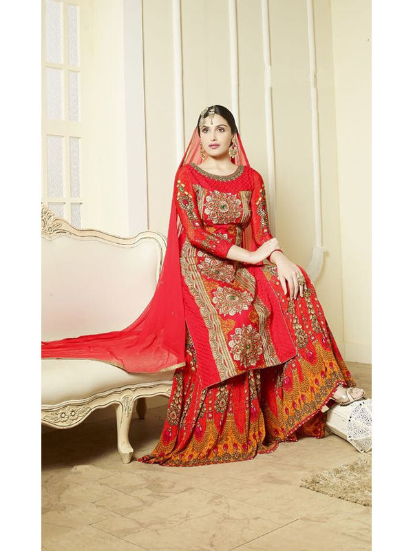 Red-Color-Pure-Georgette Heavy Embroidered Formal Suit With Dual Bottom