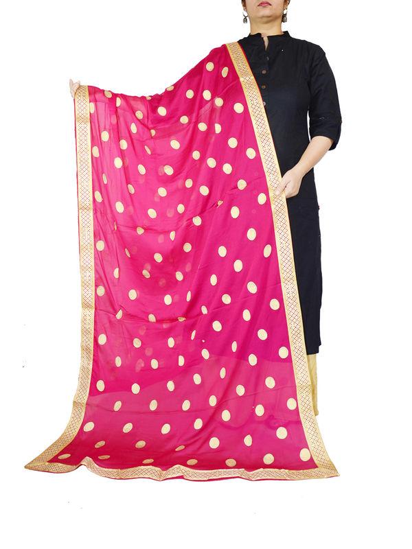 Red Golden Khadi Work Chiffon Dupatta