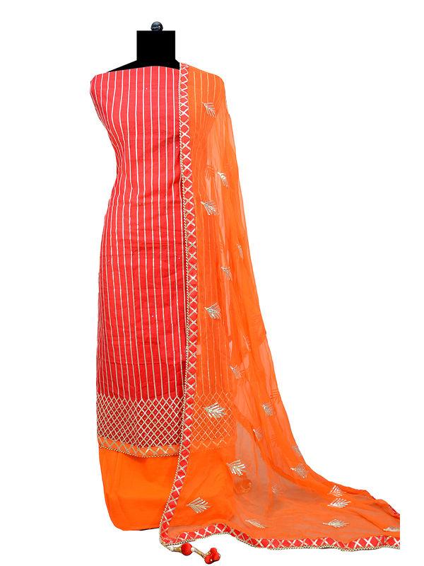 Red Orange Hand Embroidered Gotta Work Maheshwari Suit With Gotta Embroidered Dupatta