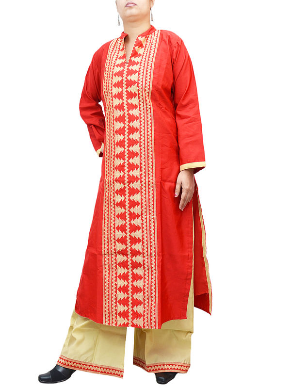 Red Sillk Front Embroidered Kurta With Silk Palazoo