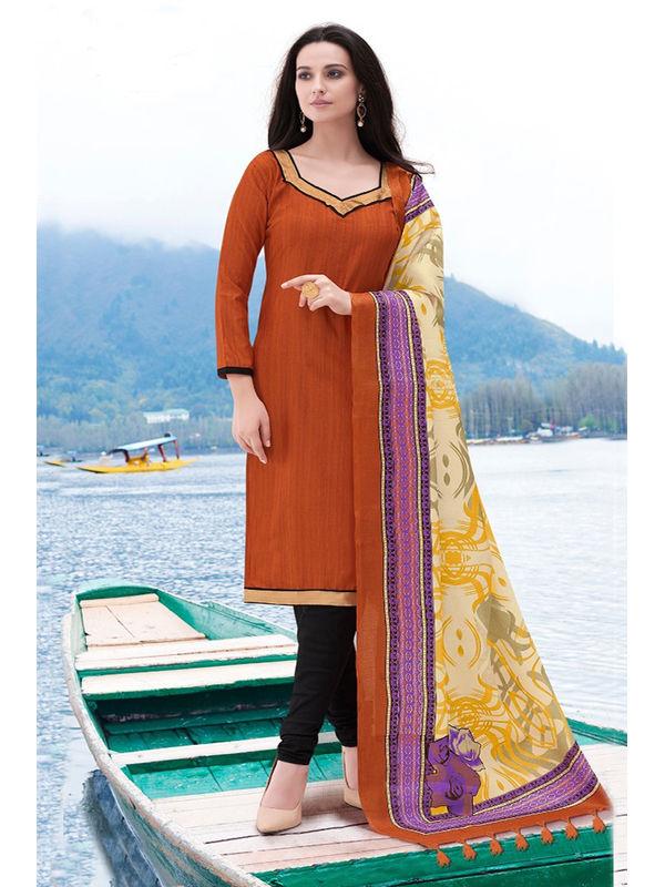 Rust Color Bhagalpuri Silk Suit With Bhagalpuri Dupatta